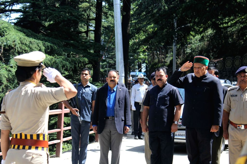Himachal Pradesh Chief Minister Virbhadra Singh arrives to attend state assembly session in Shimla on May 27, 2017. - Virbhadra Singh