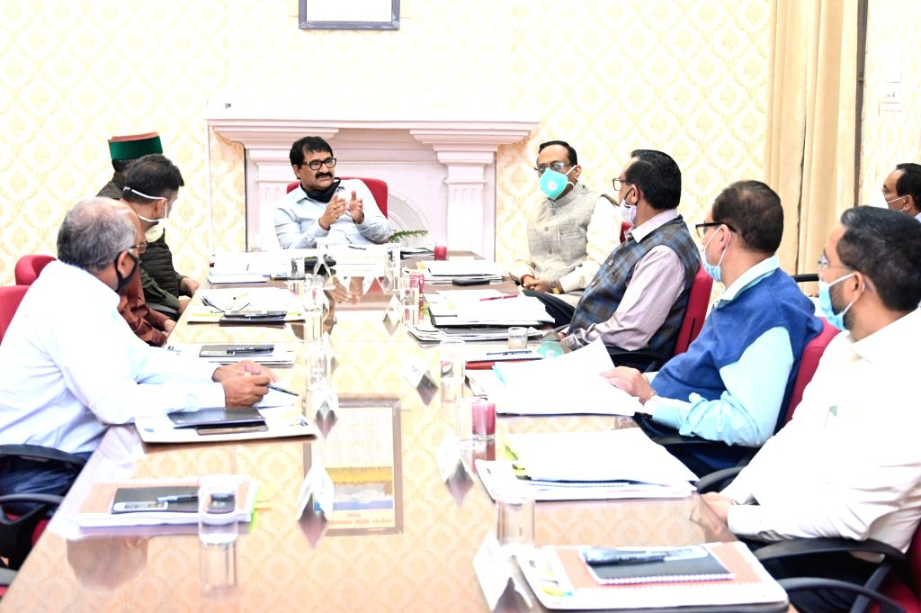Himachal Pradesh Forest Minister Govind Singh Thakur presides over the meeting of the Board of Directors of the State Forest Development Corporation, in Shimla on June 24, 2020. - Govind Singh Thakur