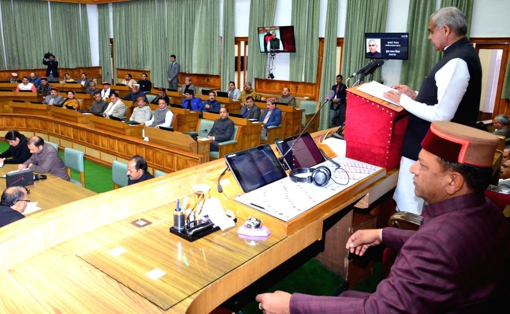 Himachal Pradesh Governor Acharya Dev Vrat addresses during the Budget session of the state assembly, in Shimla on Feb 4, 2019. Also seen Himachal Pradesh Assembly Speaker Rajeev Bindal. - Rajeev Bindal and Acharya Dev Vrat
