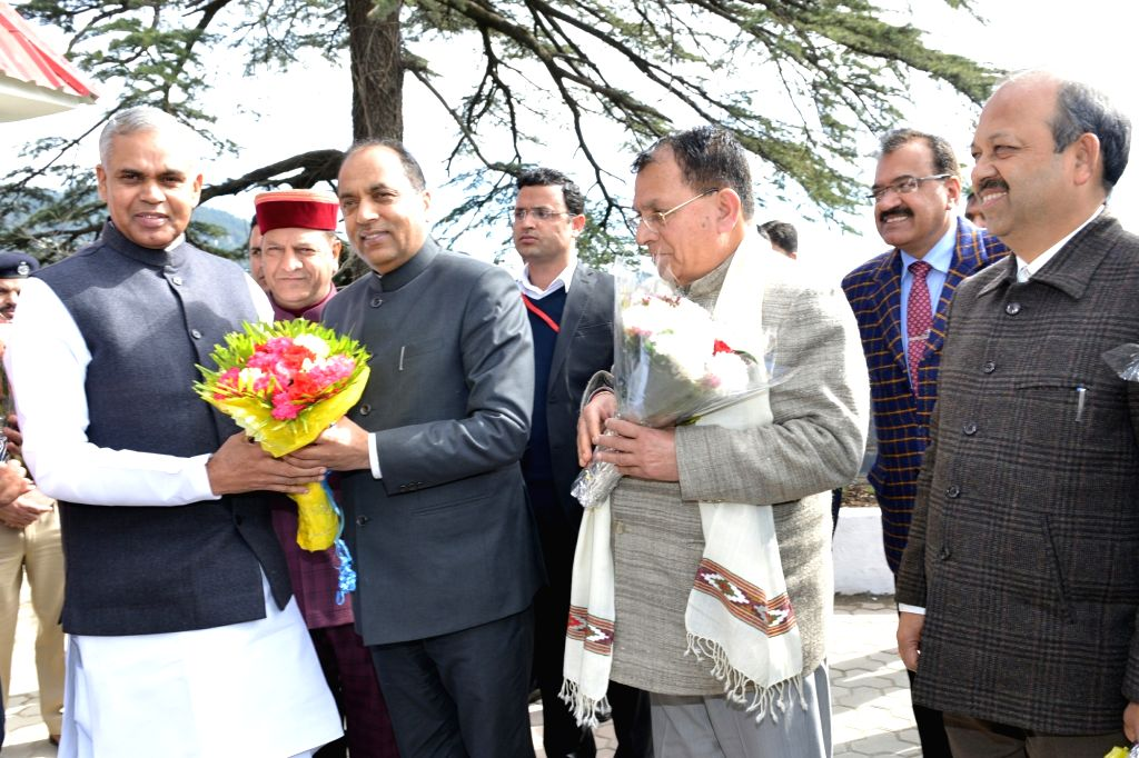 Himachal Pradesh Governor Acharya Dev Vrat being greeted by Chief Minister Jai Ram Thakur on his arrival at the state assembly, in Shimla on Feb 4, 2019. - Jai Ram Thakur and Acharya Dev Vrat
