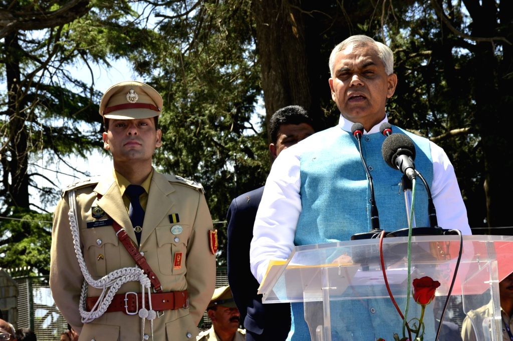 Himachal Pradesh Governor Acharya Devvrat addresses during 72nd Himachal Day celebrations, in Shimla on April 15, 2019.