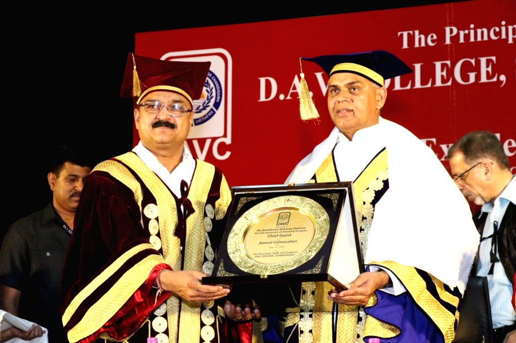 Himachal Pradesh Governor Acharya Devvrat during the convocation of DAV College in Chandigarh, on May 31, 2019.