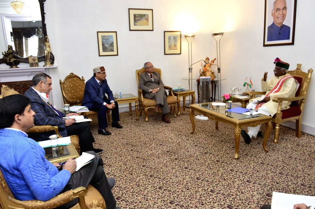 Himachal Pradesh Governor Bandaru Dattatraya chairs a meeting with Chief Secretary and senior officers of the state government to review precautionary measures being taken by the state ...