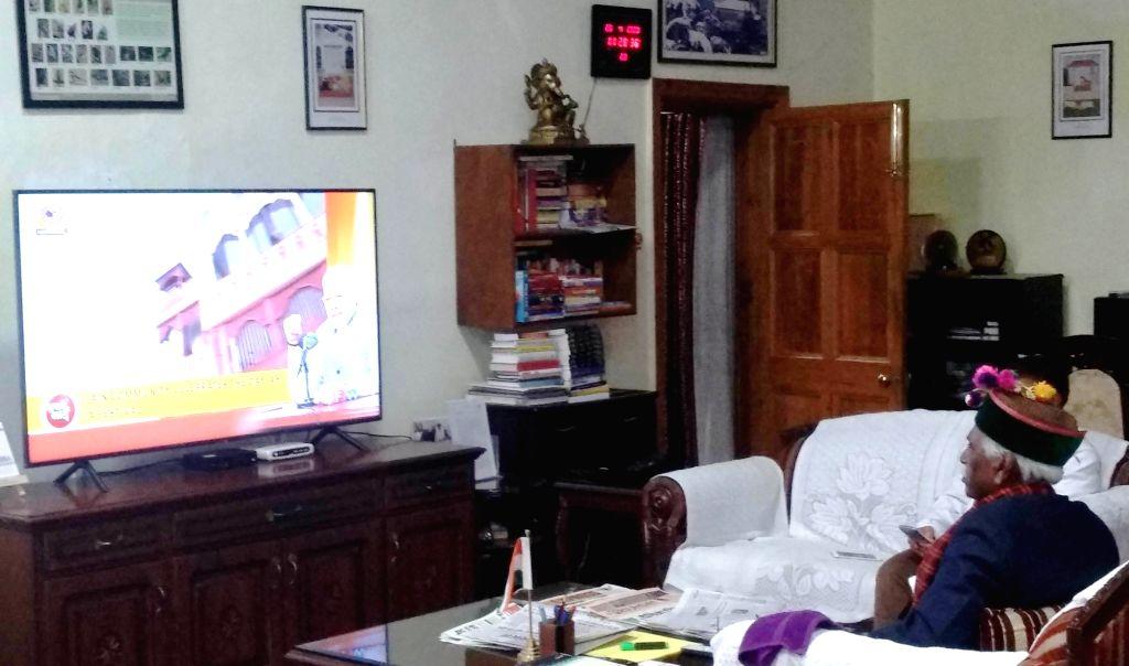 "Himachal Pradesh Governor Bandaru Dattatraya watches the telecast of Prime Minister Narendra Modi's ""Mann Ki Baat"" program on television in Shimla during the extended nationwide ... - Narendra Modi"