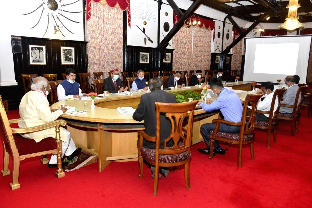 Himachal Pradesh Governor Bandaru Dattatraya presides over a meeting with Vice-Chancellors on National Education Policy 2020 at Raj Bhavan in Shimla on Aug 31, 2020.
