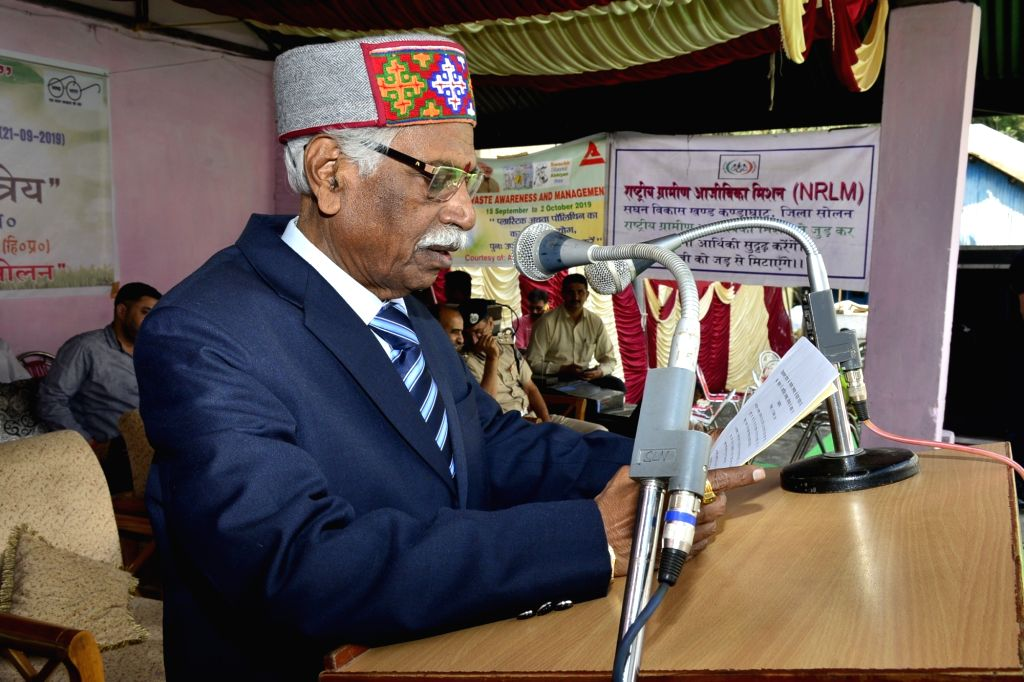 Himachal Pradesh Governor Bandaru Dattatraya addresses during the inauguration of a cleanliness campaign on World Cleanliness Day at Kandaghat in Solan district on Sep 21, 2019.