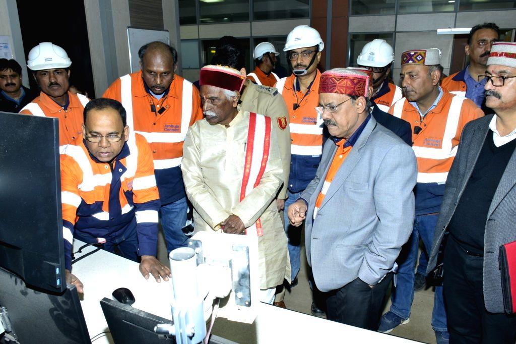Himachal Pradesh Governor Bandaru Dattatraya during his visit to Ambuja Plant at Darlaghat in Solan district, on Dec 7, 2019. Also seen Ambuja Unit Head Anupam Agarwal.