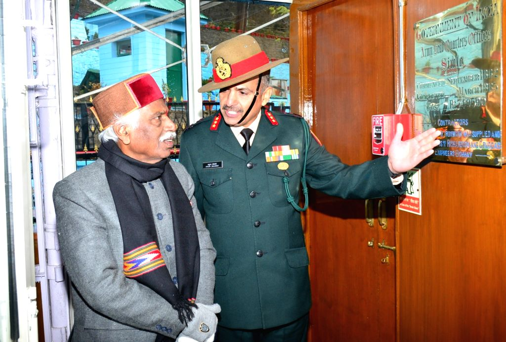 Himachal Pradesh Governor Bandaru Dattatraya during his visit to Army Training Command (ARTRAC) where he also visited the Waste Paper Recycle Plant (WPRP) set up by the Army at Summerhill, in ...