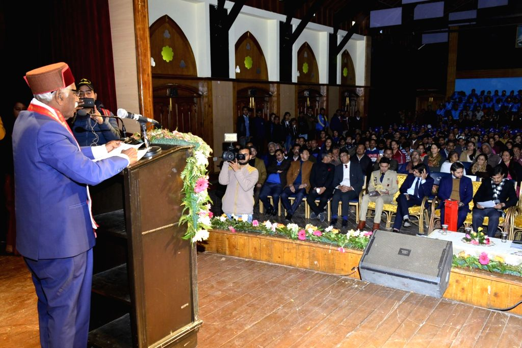 Himachal Pradesh Governor Bandaru Dattatraya addresses during the 10th National Voters' Day celebrations at Gaiety Theatre in Shimla on Jan 25, 2020.