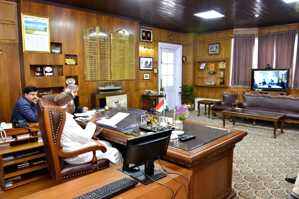 Himachal Pradesh Governor Bandaru Dattatraya interacts with Deputy Commissioners of Chamba and Kinnaur districts through video-conferencing to know about the special arrangements and ...