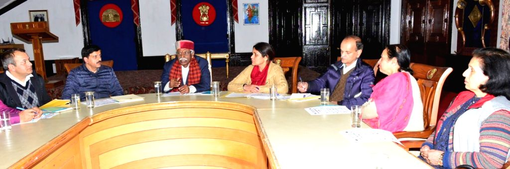 Himachal Pradesh Governor Bandaru Dattatraya presides over a meeting of State Red Cross Hospital Welfare Society to discuss the role of Red Cross in the prevention of COVID-19 (coronavirus), ...