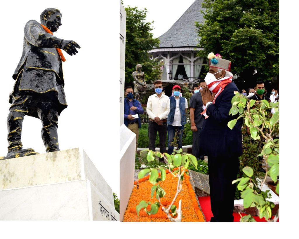 Himachal Pradesh Governor Bandaru Dattatraya pays floral tributes to the Founder and first Chief Minister of Himachal Pradesh Dr. Y.S.Parmar on his birth anniversary at his statue at the ...