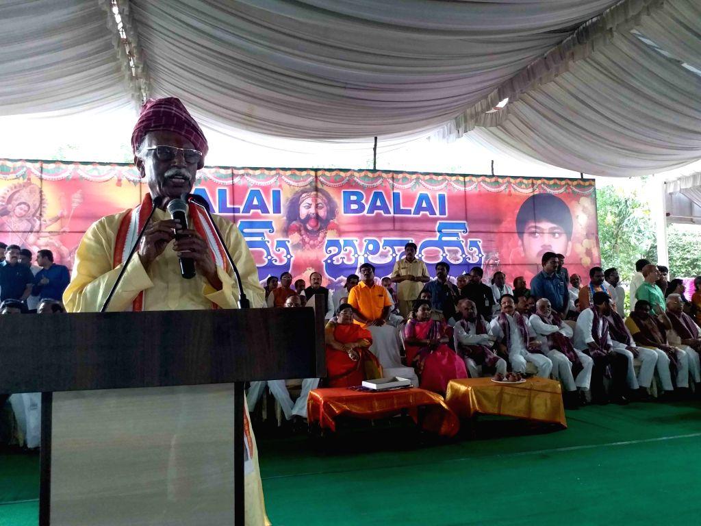 Himachal Pradesh Governor Bandaru Dattatreya addresses during  'Alai Balai' programme hosted by him as part of Dusshera celebrations, in Hyderabad on Oct 10, 2019.