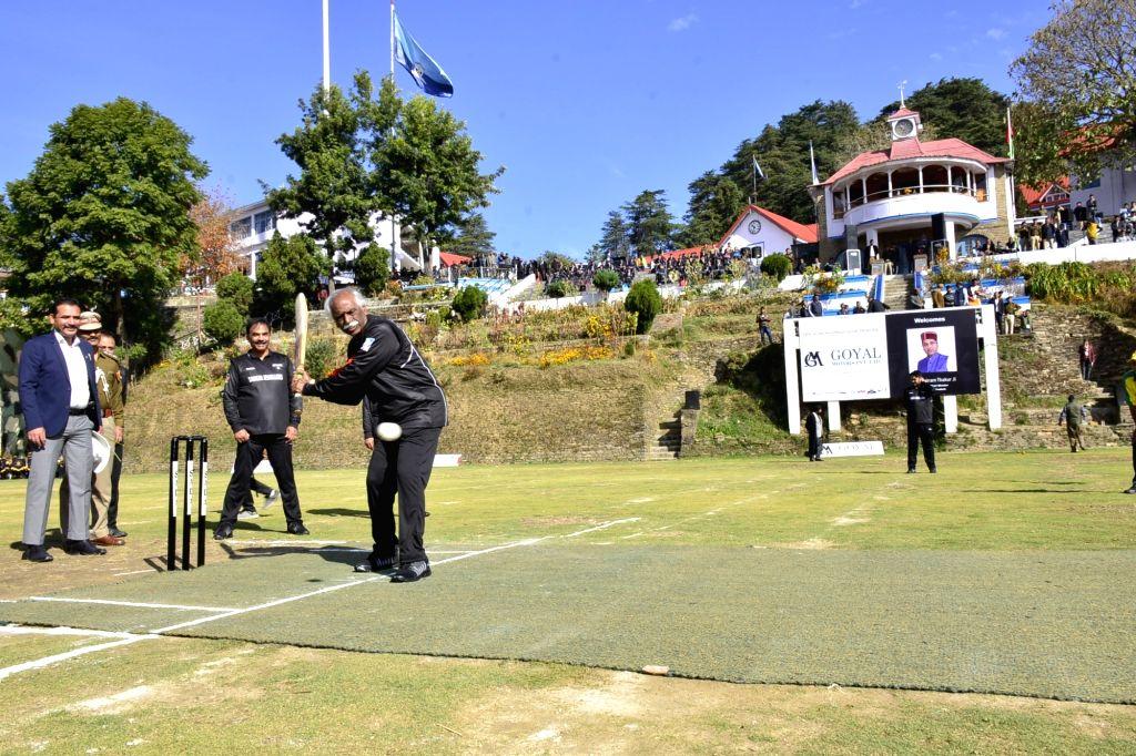 Himachal Pradesh Governor Bandaru Dattatreya plays a shot at the opening ceremony of a cricket match in Shimla on Nov 16, 2019.
