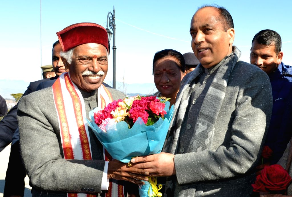 Himachal Pradesh Governor Bandaru Dattatreya being welcomed by Chief Minister Jai Ram Thakur during the 71st Republic Day celebrations in Shimla on Jan 26, 2020. - Jai Ram Thakur