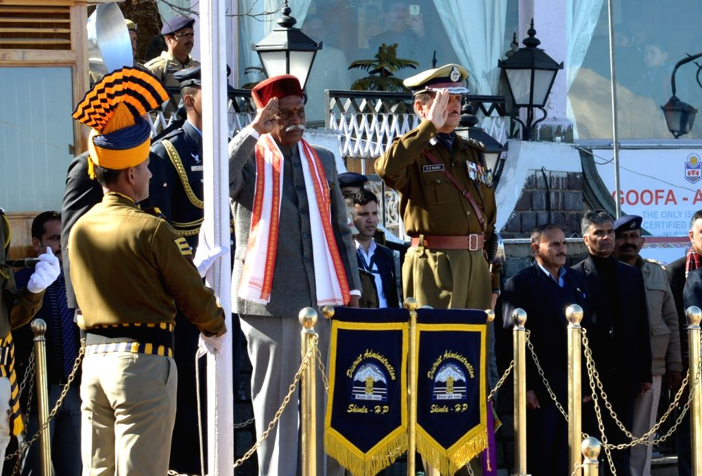Himachal Pradesh Governor Bandaru Dattatreya reviews the 71st Republic Day parade in Shimla on Jan 26, 2020.