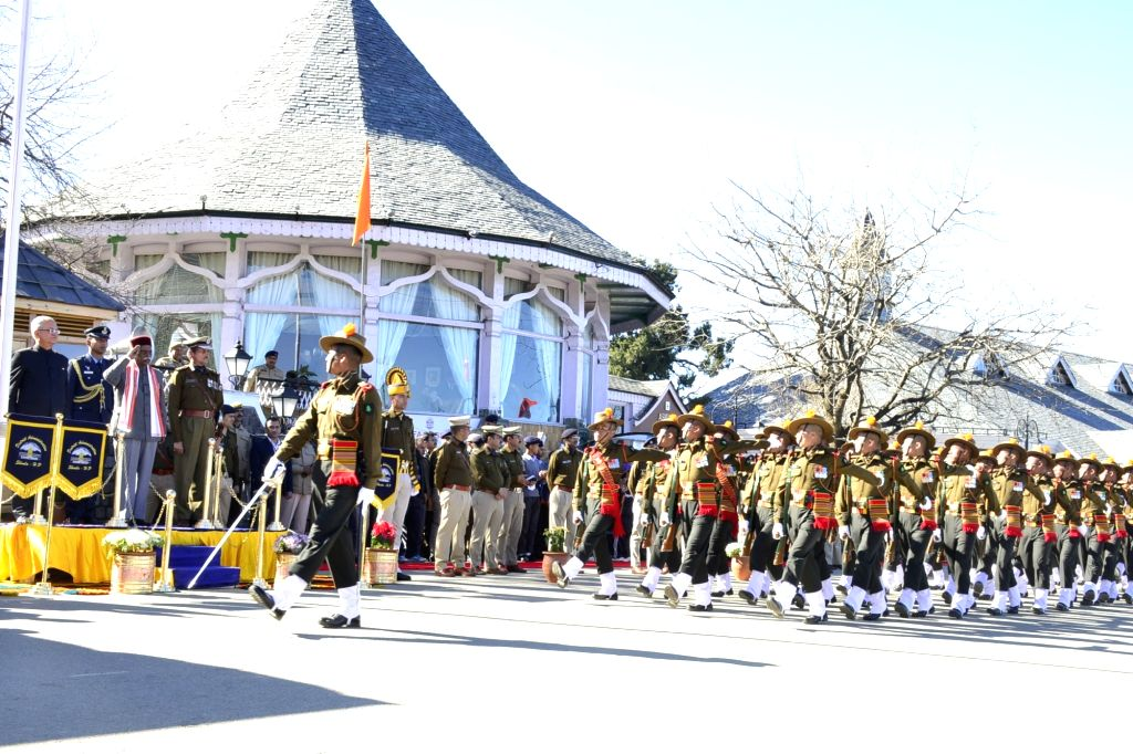 Himachal Pradesh Governor Bandaru Dattatreya takes the salute during the 71st Republic Day celebrations in Shimla on Jan 26, 2020.