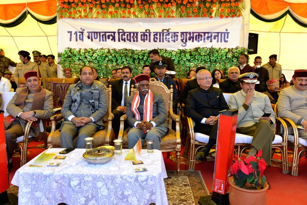 Himachal Pradesh Governor Bandaru Dattatreya and Chief Minister Jai Ram Thakur during the 71st Republic Day celebrations in Shimla on Jan 26, 2020. - Jai Ram Thakur