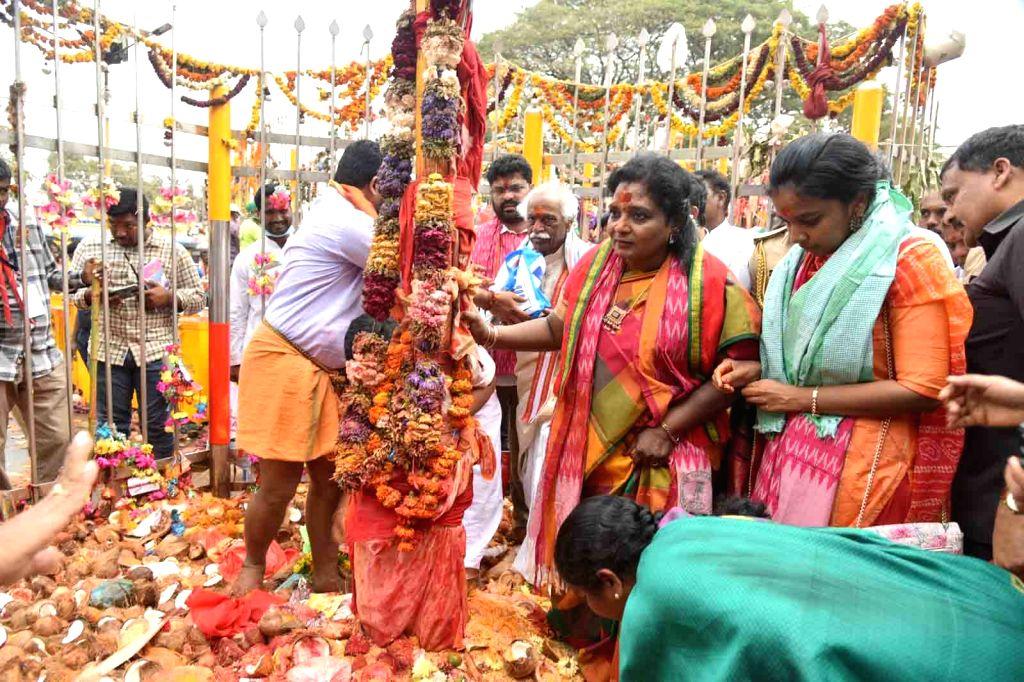 Himachal Pradesh Governor Bandaru Dattatreya and Telangana Governor Tamilisai Soundararajan offered prayers at Sammakka Saralamma Jatara at Medaram, Mulugu District, in Telangana on Feb 7, ...