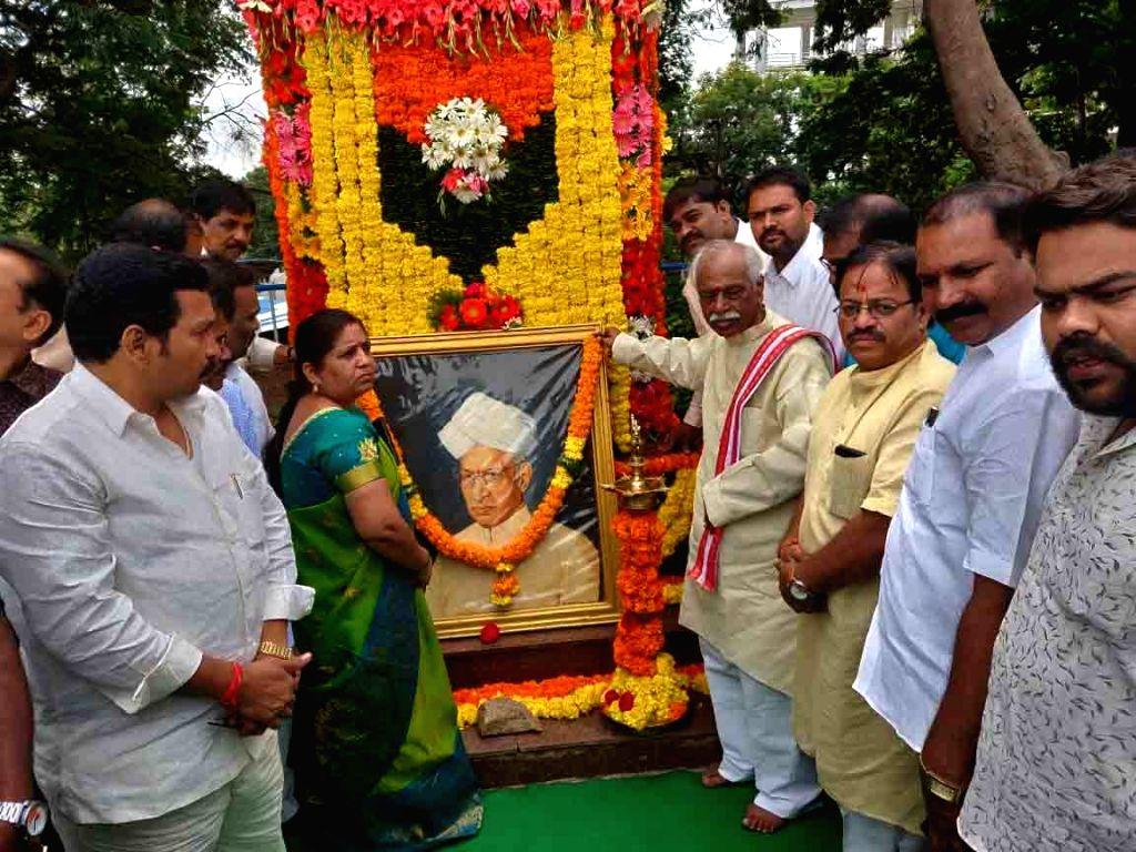 Himachal Pradesh Governor Designate Bandaru Dattatreya pays tributes to Former President of India Sarvepalli Radhakrishnan on his birth anniversary, in Hyderabad on Sep 5, 2019.