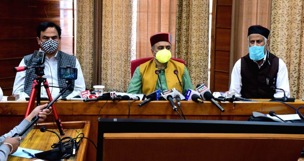 Himachal Pradesh  Health Minister Rajiv Saizal addresses a press conference in Shimla on Oct 19, 2020. - Rajiv Saizal