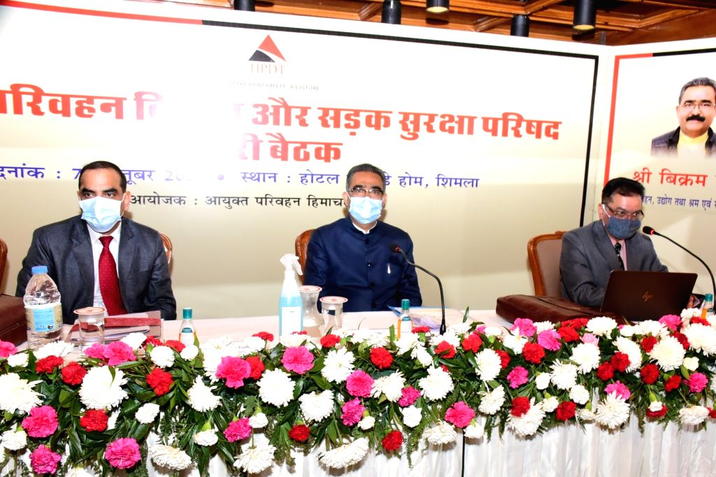Himachal Pradesh Transport Minister Bikram Singh presides over the meeting of the State Transport Development and Road Safety Council, in Shimla on Oct 7, 2020. - Bikram Singh