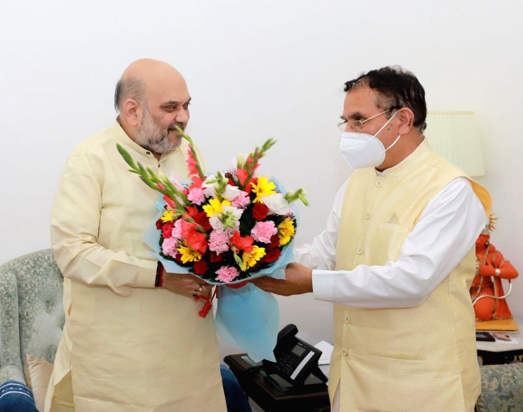 Himachal Pradesh Urban Development and Cooperation Minister Suresh Bhardwaj called on Union Minister of Home Affair Amit Shah in New Delhi on Tuesday. - Suresh Bhardwaj and Affair Amit Shah