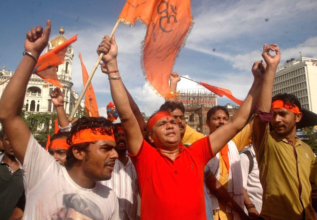 Hindu Jagaran Manch activists take part in a protest rally against attack on Hindus of Bangladesh in Kolkata on June 30, 2016.
