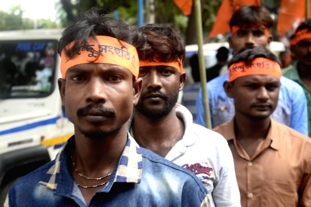 "Hindu Samhati activist take out a rally to pay tribute to Gopal Chandra Mukhopadhyay, popularly known as 'Gopal Patha' who saved many Hindu families during the ""Great Calcutta ..."