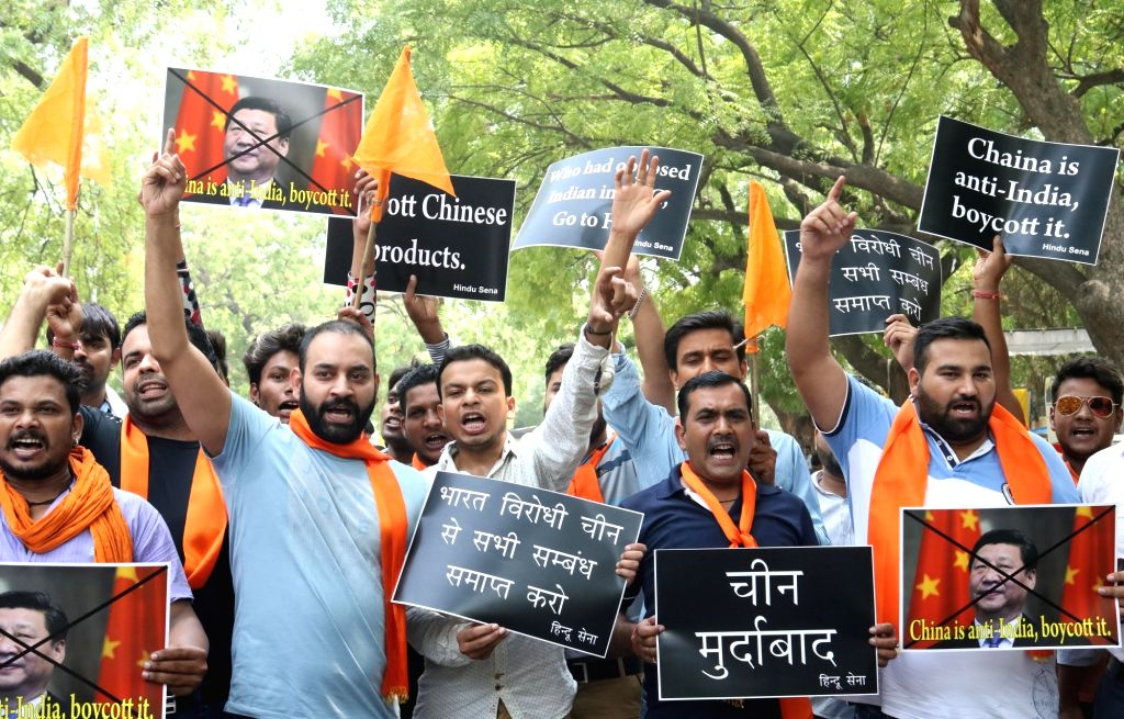Hindu Sena activists stage a demonstration against China after it opposed India's entry into Nuclear Suppliers Group (NSG), in New Delhi, on June 25, 2016.