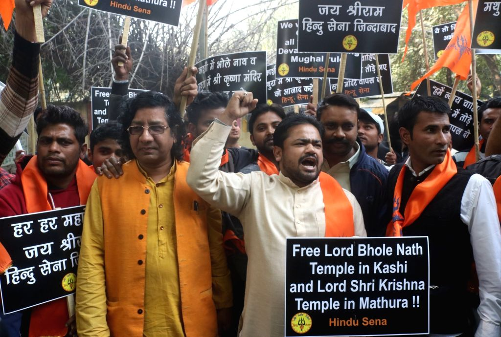 Hindu Sena activists stage a demonstration demanding the construction of Shiva temple in Varanasi and Krishna temple in Mathura, claiming that just like the Babri Masjid, temples were also ...