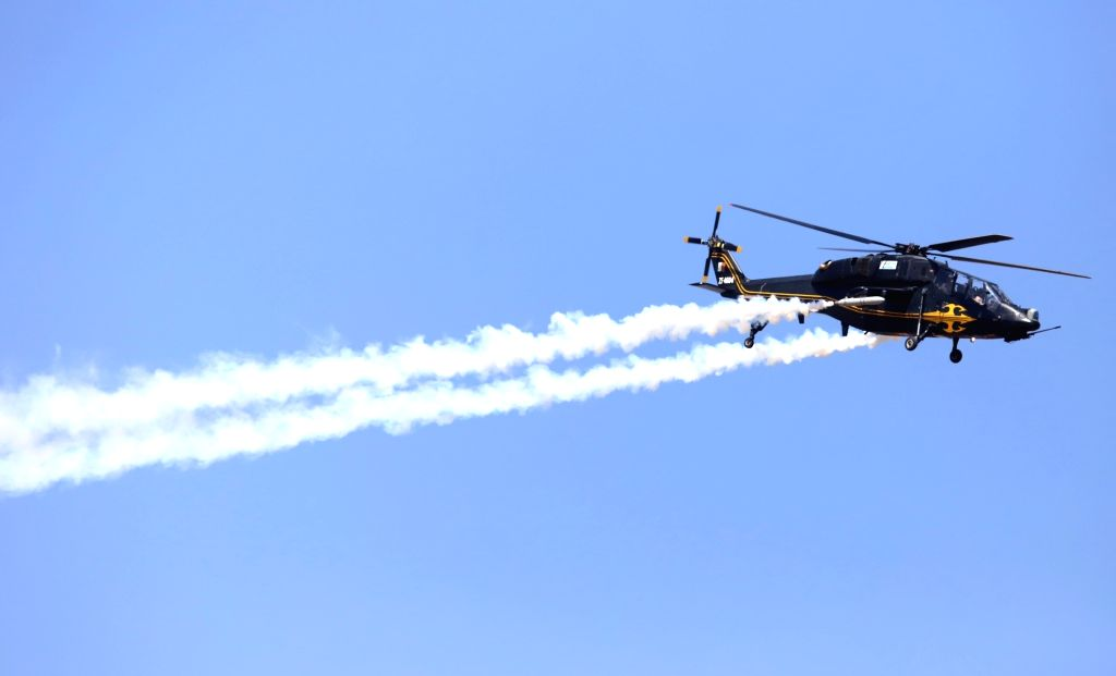 "Hindustan Aeronautics Limited (HAL) built Rudra helicopter during ""Aero India 2019"" - air show at Yelahanka Air Force Station, in Bengaluru, on Feb 20, 2019."