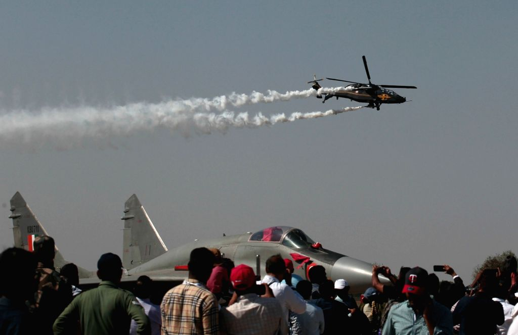"Hindustan Aeronautics Limited (HAL) built Rudra helicopter during ""Aero India 2019"" - air show at Yelahanka Air Force Station, in Bengaluru, on Feb 21, 2019."