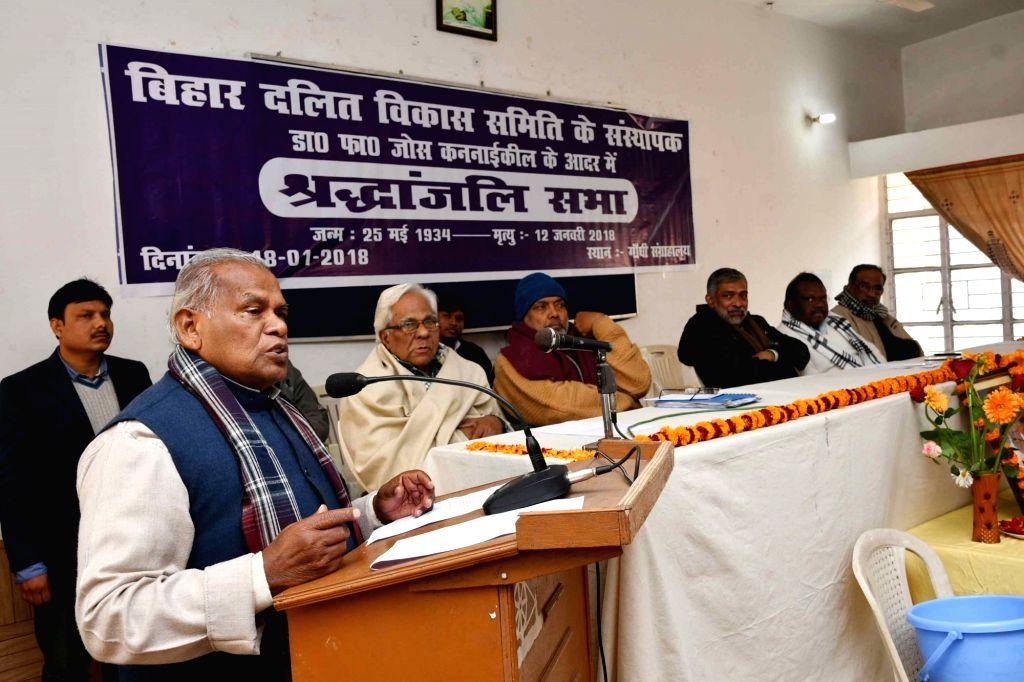 Hindustani Awam Morcha (HAM) chief Jitan Ram Manjhi addresses during a tribute meeting of Bihar Dalit Vikas Samiti in Patna on Jan 18, 2018.