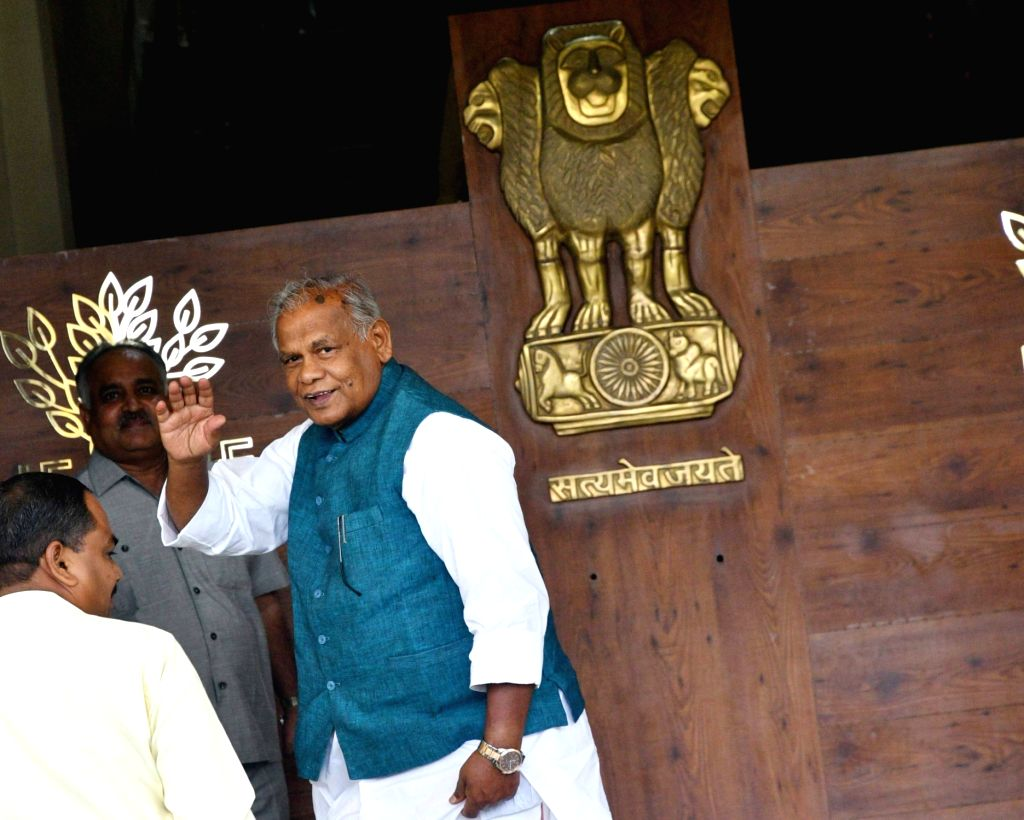 Hindustani Awam Morcha (HAM) leader Jitan Ram Manjhi arrives at the Bihar Legislative Assembly, in Patna on July 26, 2018.
