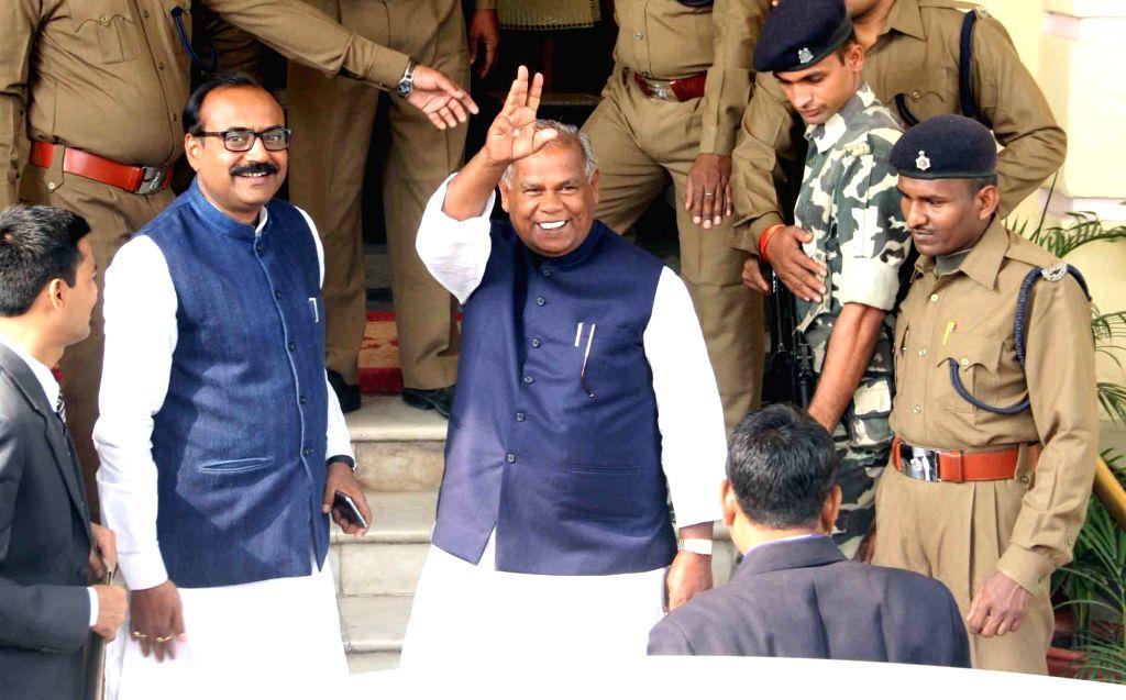 Hindustani Awam Morcha (HAM) supremo Jitan Ram Manjhi arrives at the Bihar Vidhan Sabha in Patna on Nov 30, 2015.
