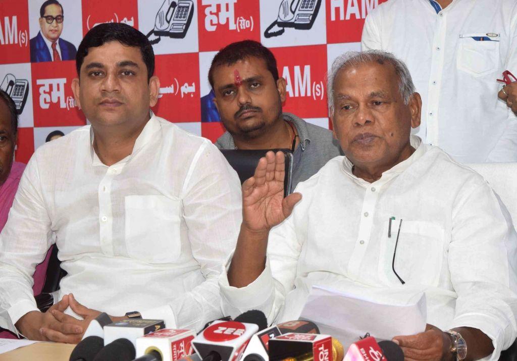Hindustani Awam Morcha leader Jitan Ram Manjhi addresses a press conference in Patna on Sept 16, 2018.