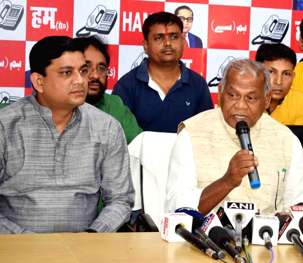 Hindustani Awam Morcha - Secular (HAM-S) chief Jitan Ram Manjhi addresses a press conference, at the party office in Patna on May 23, 2018.