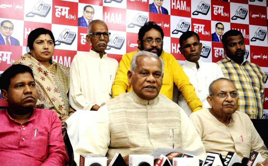 Hindustani Awam Morcha - Secular (HAM-S) chief Jitan Ram Manjhi addresses a press conference, in Patna on June 14, 2018.
