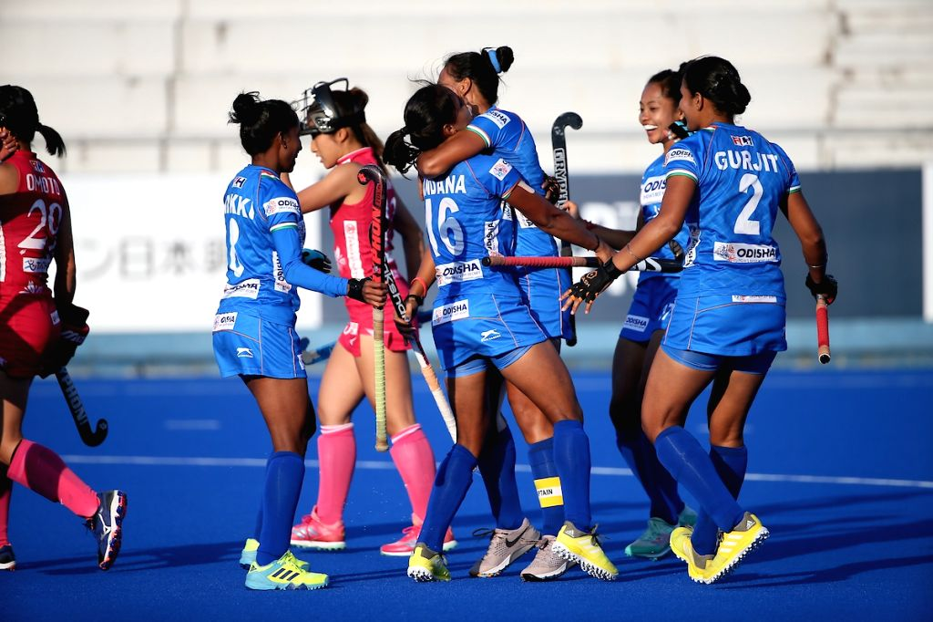 Hiroshima: Indian Women's Hockey team celebrates after defeating hosts Japan 3-1 during the Final of the FIH Women's Series Finals, in Hiroshima on June 23, 2019. (Photo: IANS)