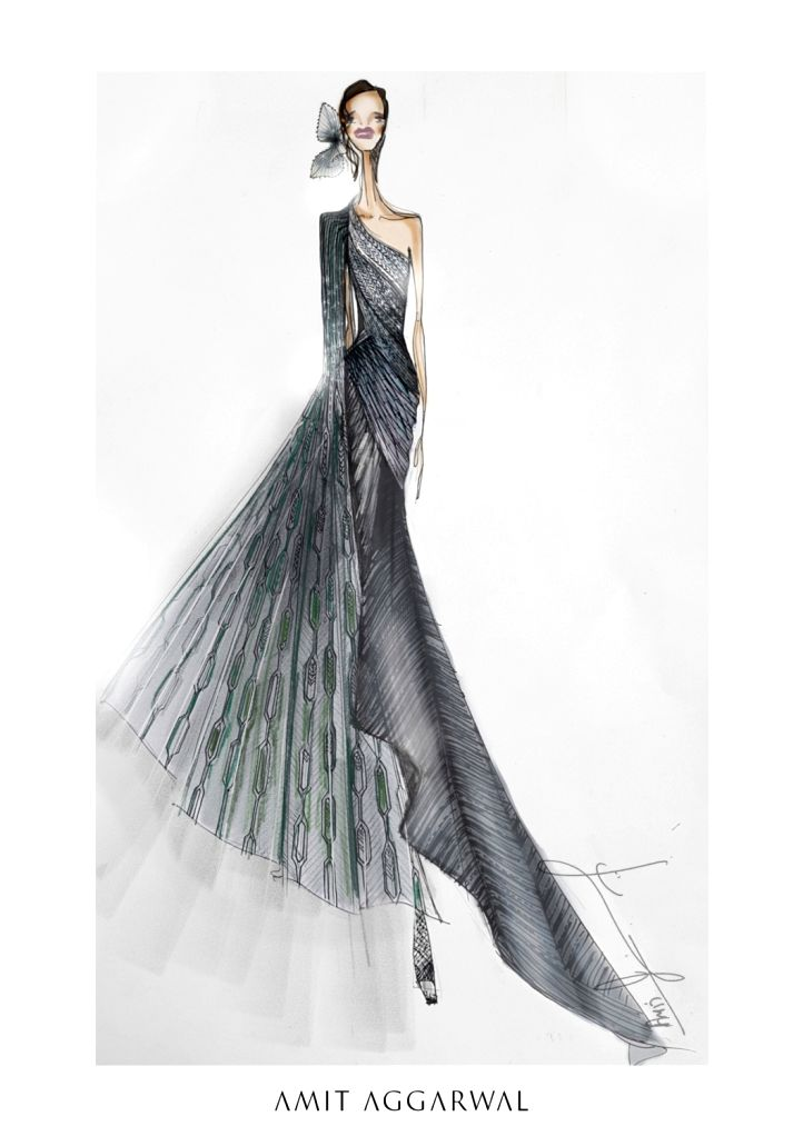 His collection sketch for the fashion week.