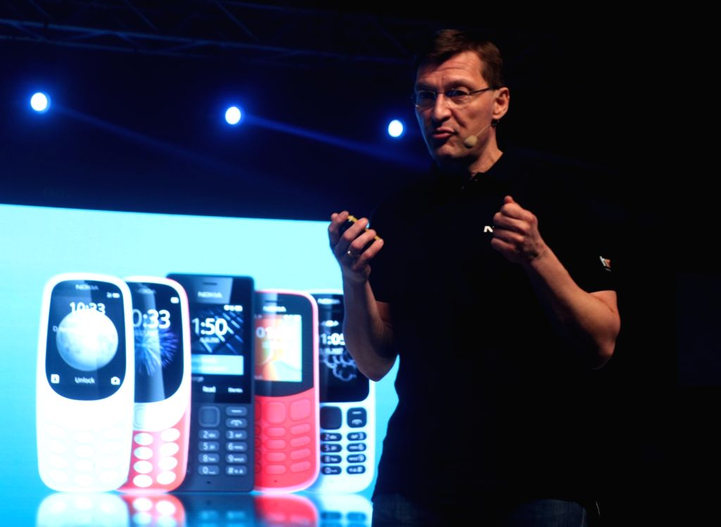 HMD Global Executive Vice President and Chief Marketing Officer Pekka Rantala addresses at the launch of Nokia 6, 7 Plus and 8 Sirocco smartphones, in New Delhi on April 4, 2018.