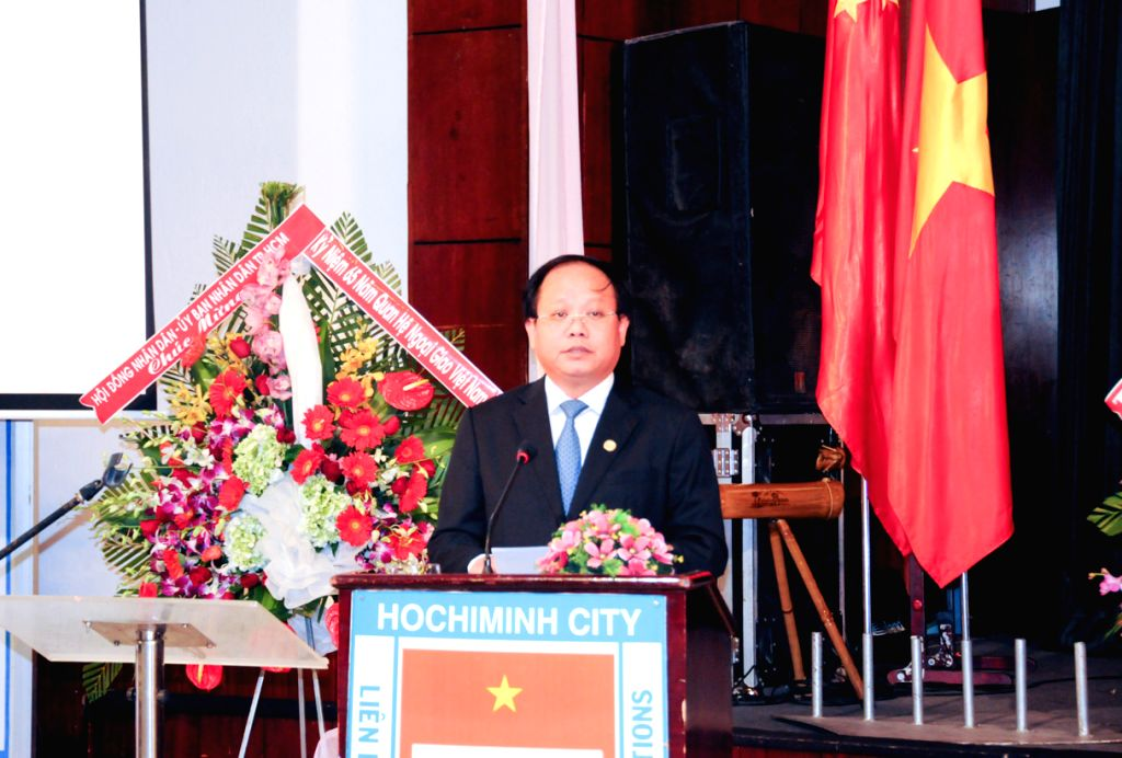 Vice Chairman of Ho Chi Minh City People's Committee Tat Thanh Cang addresses an event held by Ho Chi Minh City People's Committee to celebrate the 65th ...