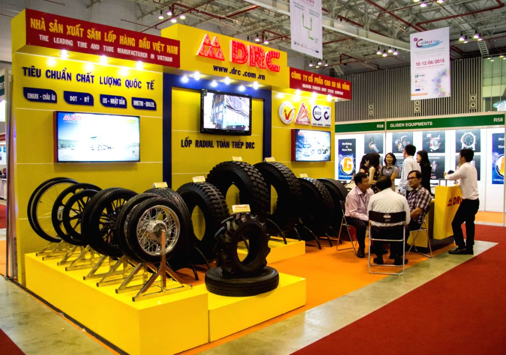 HO CHI MINH CITY, June 10, 2015 (Xinhua) -- Photo taken on June 10, 2015 shows a Vietnamese exhibitor booth at the international expos of rubber, tyre, paper and coatings in Ho Chi Minh city, Vietnam. These exhibitions are held from June 10 to 12, 20