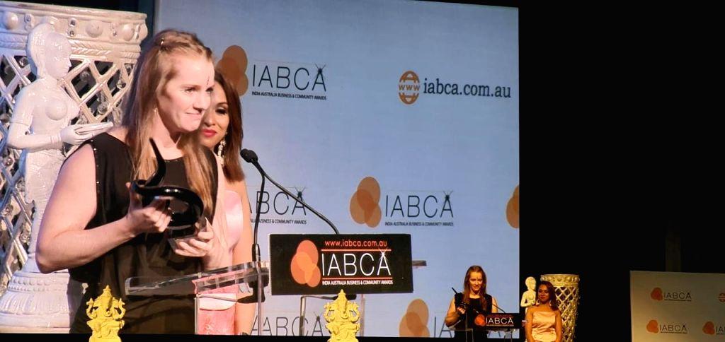 Hockey India CEO Elena Norman receives 'Business Woman of the Year Award' at the India Australia Business & Community Awards (IABCA) 2019 in Brisbane, Australia.