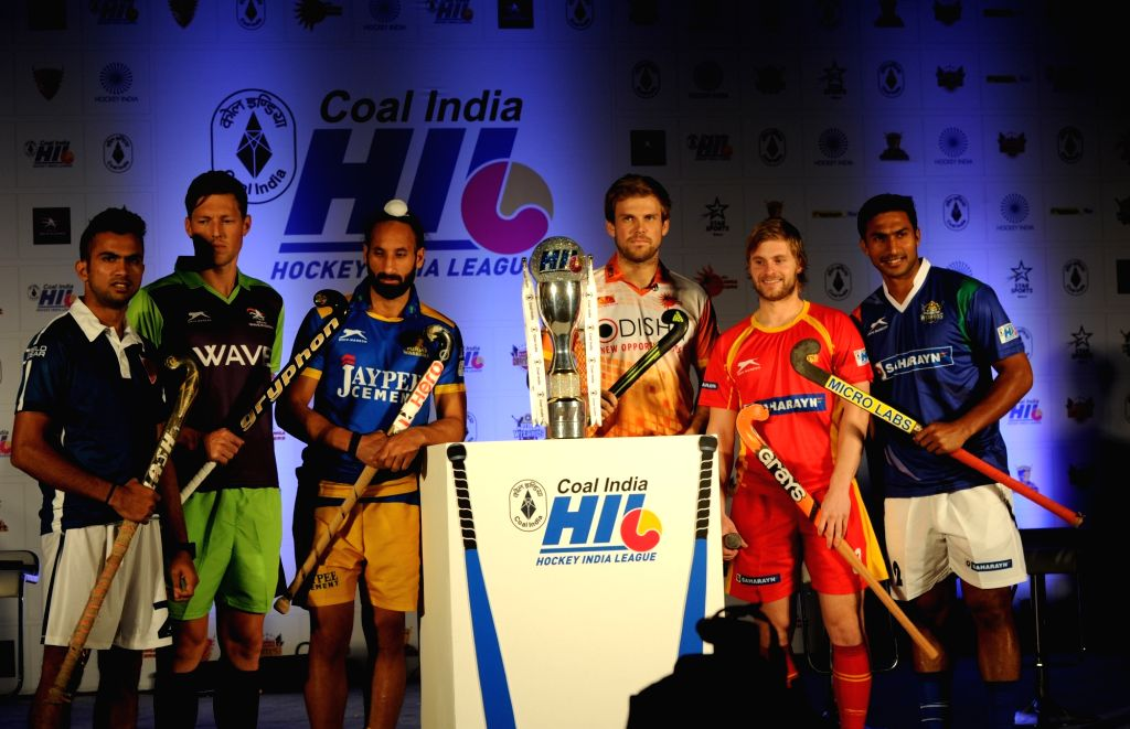 Hockey India League captains during a programme organised to unveil the HIL 2016 trophy, in New Delhi on Jan 14, 2016.