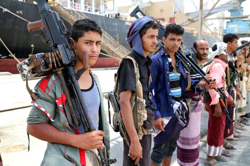 HODEIDAH (YEMEN), May 11, 2019 Houthi members are seen during their withdrawal from Salif port in Hodeidah, Yemen, on May 11, 2019. Yemen's Houthi rebels began on Saturday withdrawal from ...