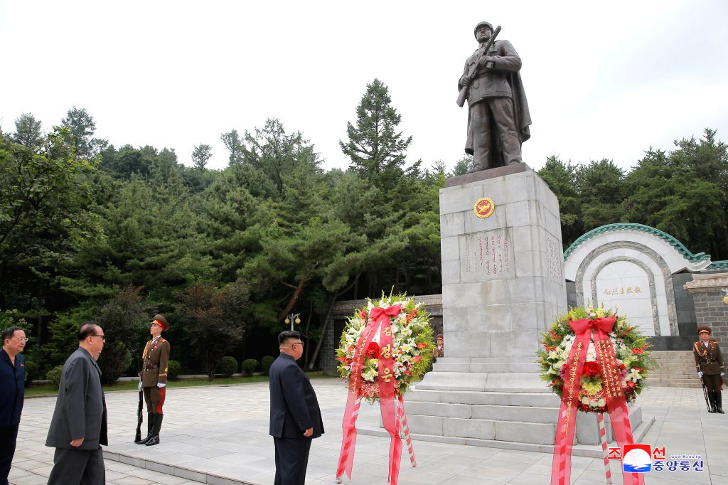 HOECHANG, July 27, 2018 - Photo provide by the Korean Central News Agency (KCNA) on July 27, 2018 shows top leader of the Democratic People's Republic of Korea (DPRK) Kim Jong Un visiting the Martyrs ...