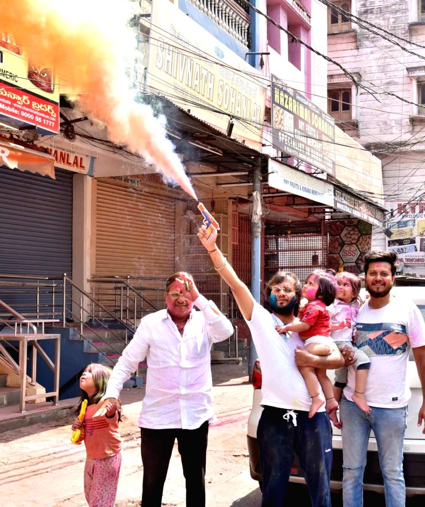 Holi celebration In Hyderabad at Jalavihar and city Monday 29th March 2021.