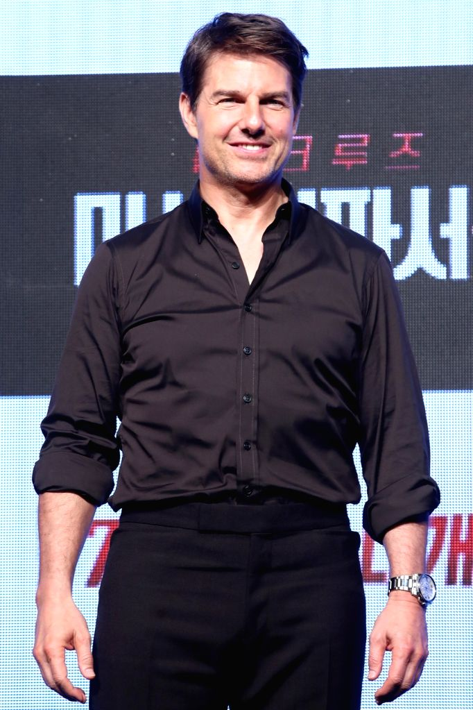 "Hollywood actor Tom Cruise, who stars in the new movie ""Mission: ImpossibleFallout,"" poses for a photo during a publicity event in Seoul on July 16, 2018. The movie will be ... - Tom Cruise"